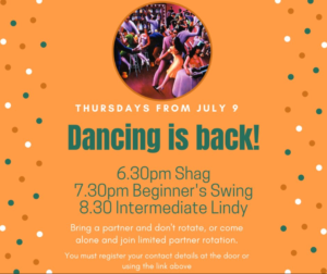 Dancing is back on Thursdays starting July 9th